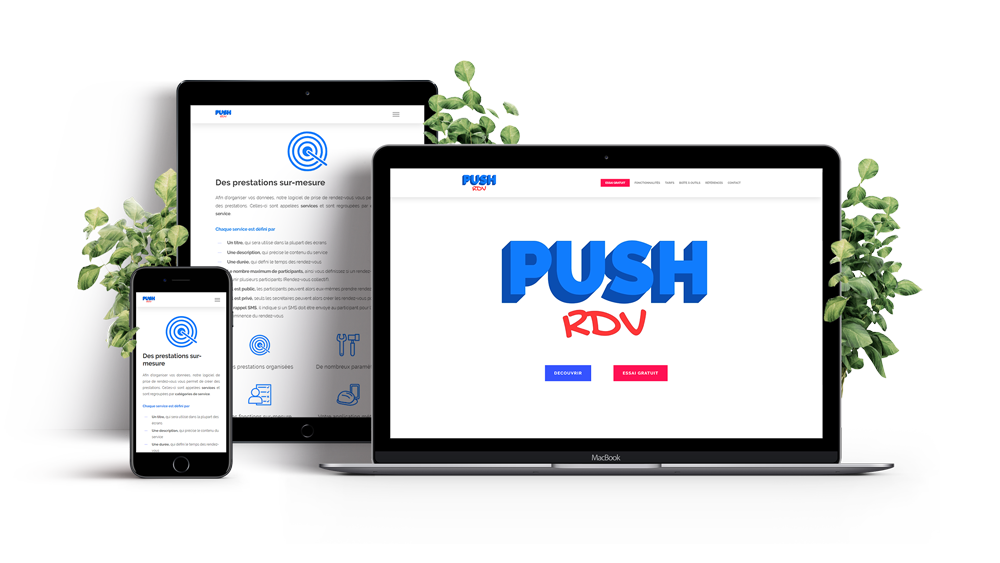 Refonte du site PushRDV, solution de prise de rendez-vous en ligne. Mockup multi-supports du site web pushrdv par World Becomes Digital. Déclinaison sur ordinateur, tablette et mobile. Site web 100% responsif.